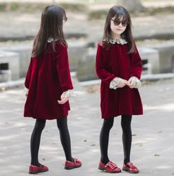 Kids Girls Dress Long Sleeve Velvet Party Princess Dress Clo