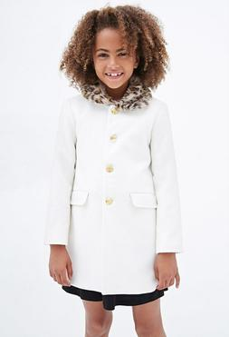 Forever 21 Kids Girls Faux Fur Collar Coat Size 11/12 New wi