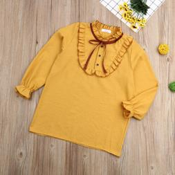 Kids Girls Long Sleeve Lace Stripe Tops Blouse Casual Shirt