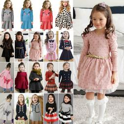 Kids Girls Long Sleeve Mini Dress Princess Dresses Formal Ca
