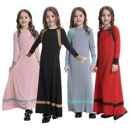 Kids Girls Long Sleeve Muslim Dress Abaya Kaftan Prayer Side