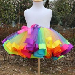 Kids Girls Rainbow Tutu Skirt Tulle Fluffy Princess Dance Dr