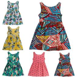 Kids Summer Clothes Girls Printed Sleeveless Princess Strap