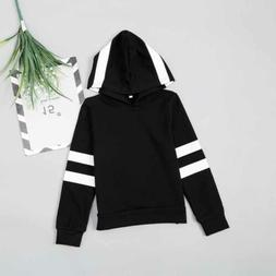 Kids Sweatshirt Girls Hoodie Stripe Long Sleeve Cotton Tops