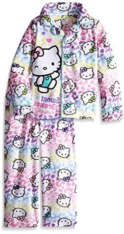 Hello Kitty Girls' Big Pajama Set, White, Medium