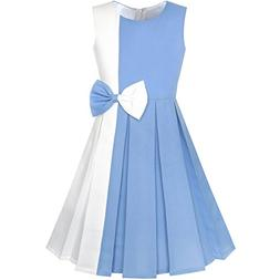 Sunny Fashion KY96 Girls Dress Color Block Contrast Bow Tie