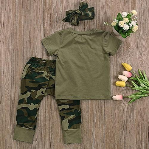 2 Styles Daddy's Boy Girl Short Sleeve T-shirt Tops+Green Long Pants Outfit