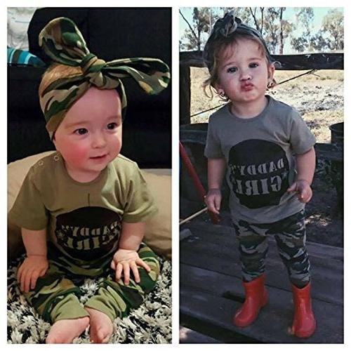 2 Styles Boy Girl Camouflage Short Sleeve Tops+Green Pants Outfit
