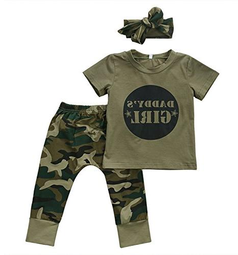 2 Styles Daddy's Baby Boy Girl Camouflage Short Sleeve T-s