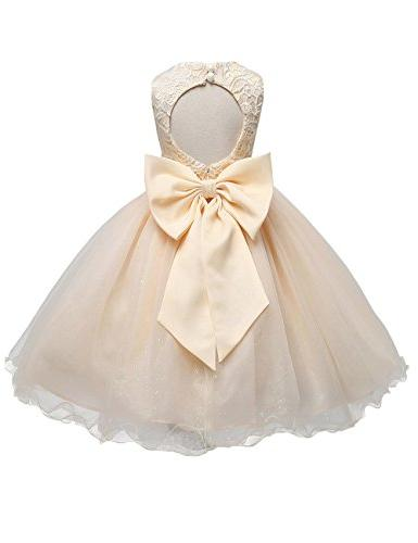21KIDS Baby Girls Tulle Lace Flower Bridesmaid Gown Backless