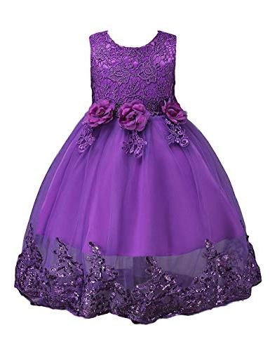 21KIDS Sleeveless Wedding Party Princess Gown Pageant Dress,Purple,9-10