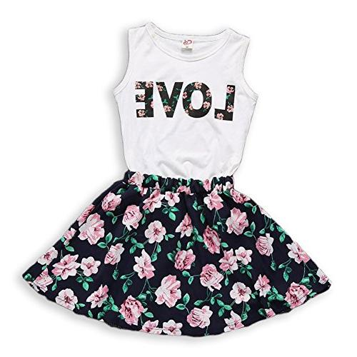 21KIDS Girls Clothing Sets Sleeveless Love Top and Floral Pr