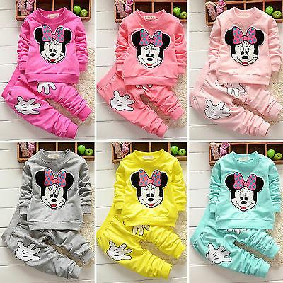 2pcs Girls Mouse Hoodie Tops Kid Winter Tracksuit