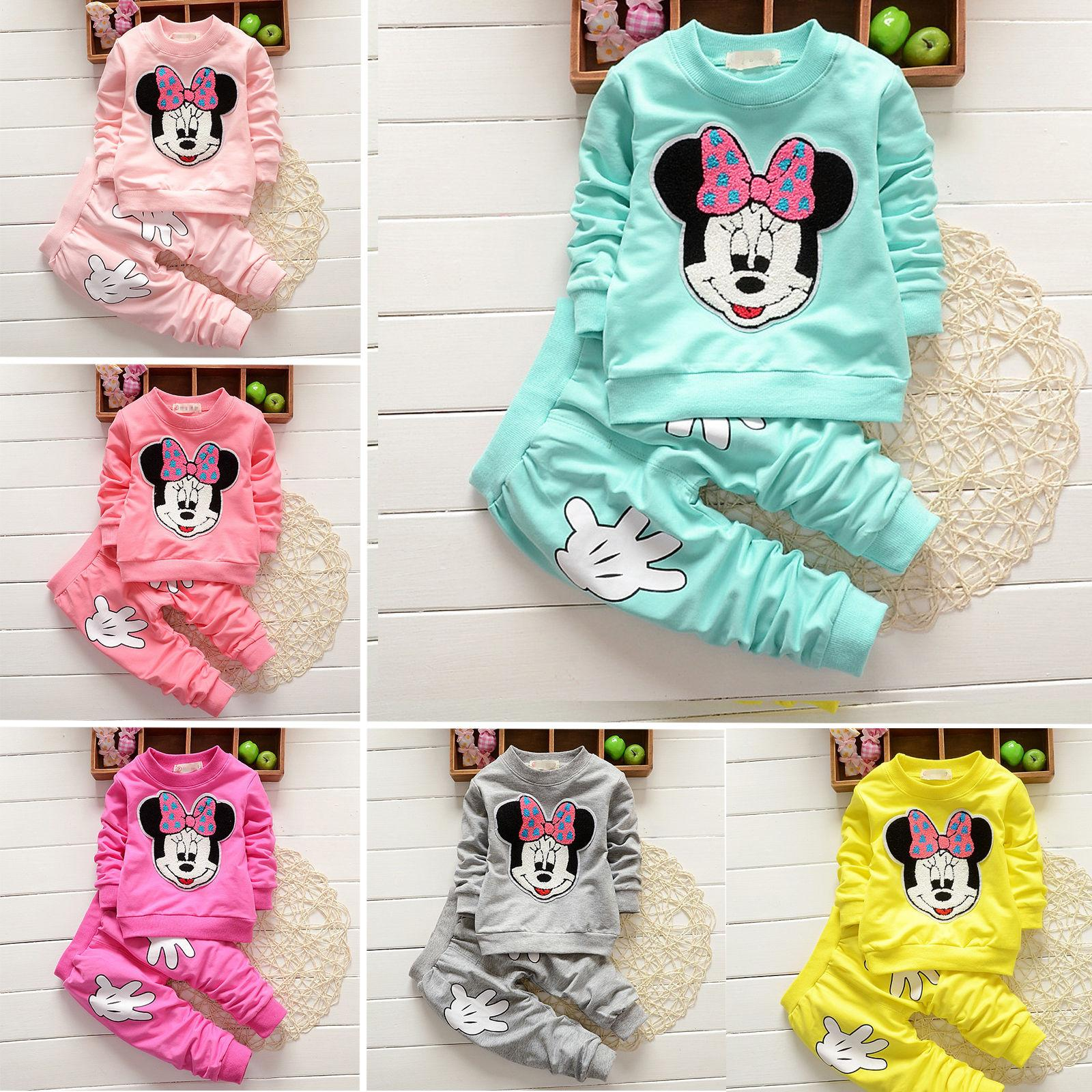 2pcs Baby Girls Mouse Hoodie Kid Outfits Tracksuit