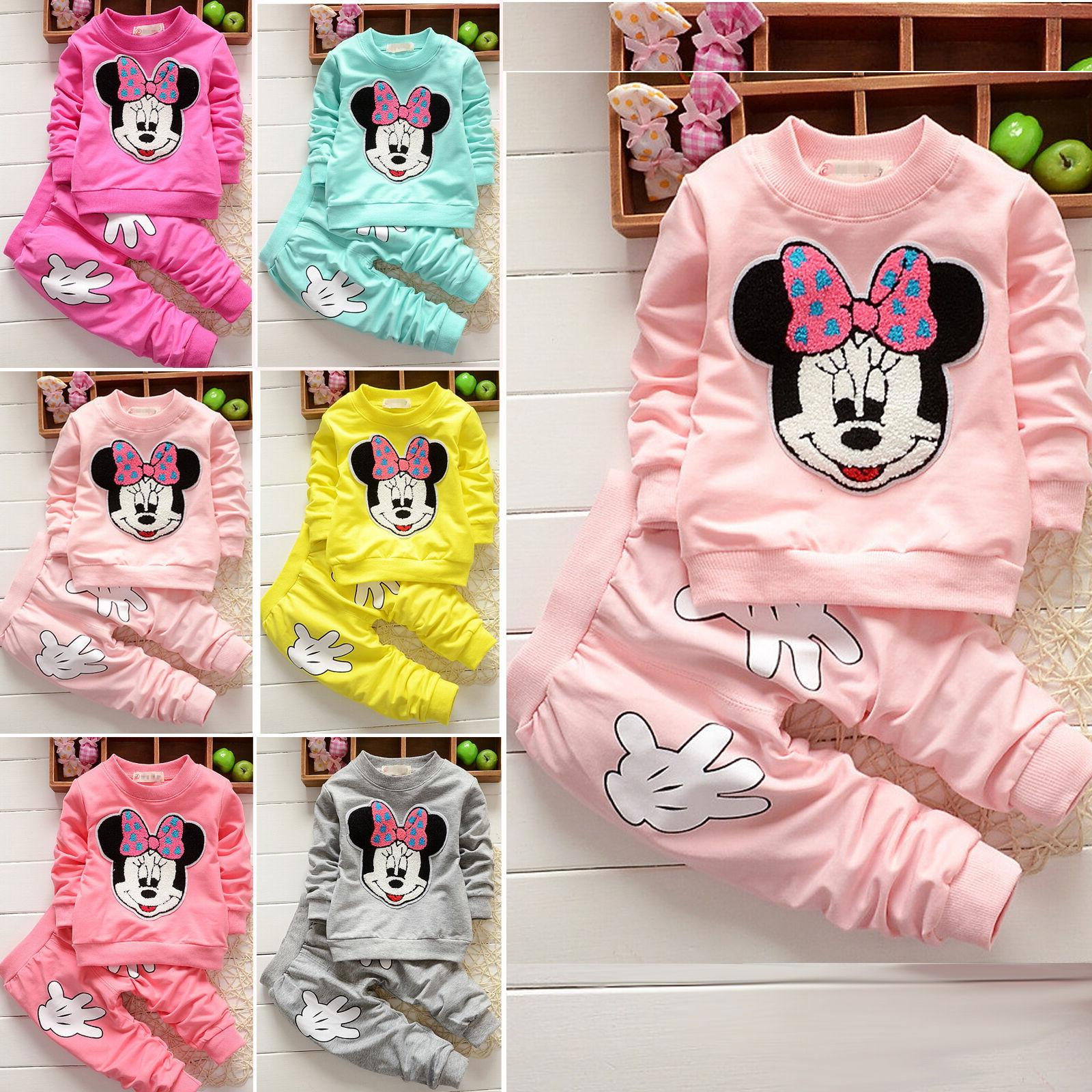 2pcs baby girls minnie mouse hoodie tops