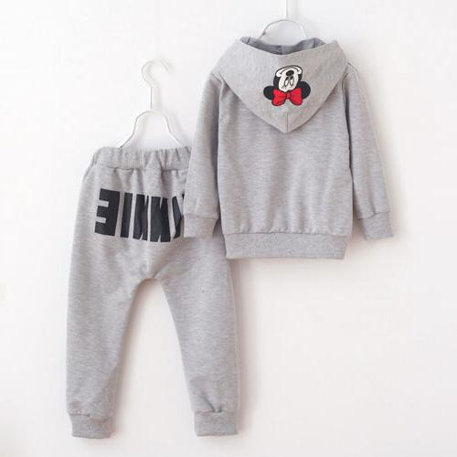 2PCS Minnie Mouse Clothes T-shirt Tops +Long Pants