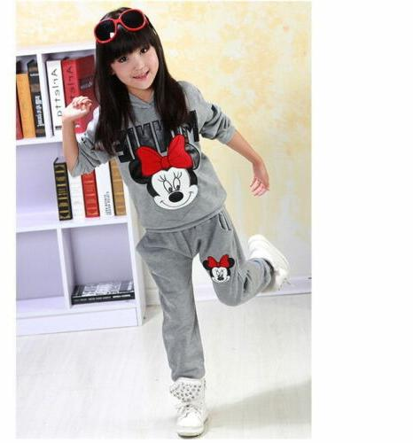 2PCS Kids Baby Girls Minnie Clothes Tops +Long Set