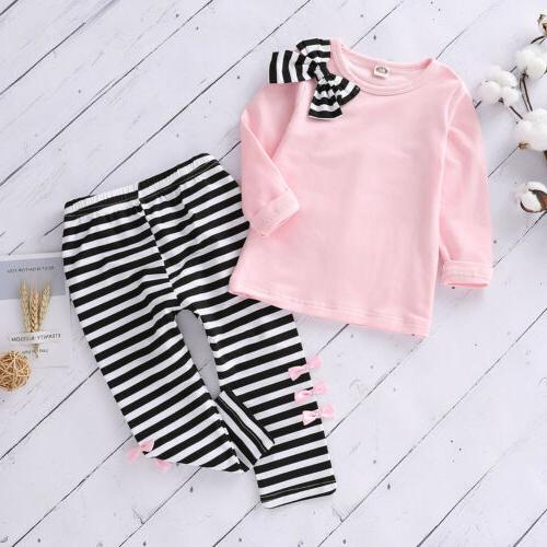 Toddler Kids Baby Girls Clothes Striped T Shirt Tops+Long Pa