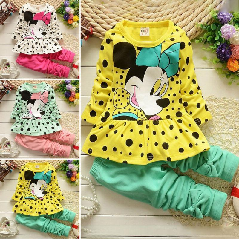 2Pcs Toddler Kids Baby Girls Cartoon Outfits Clothes Set T-s
