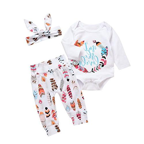 3Pcs Baby Boy Girls Print Long Sleeve Letters Romper+Leaves