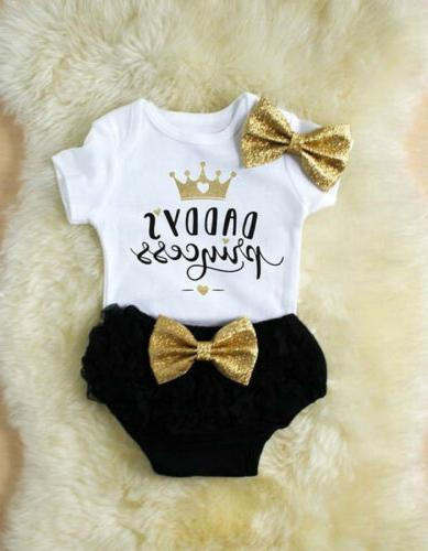 3PCS Girl Outfits Clothes Tops Romper+Tutu Shorts US