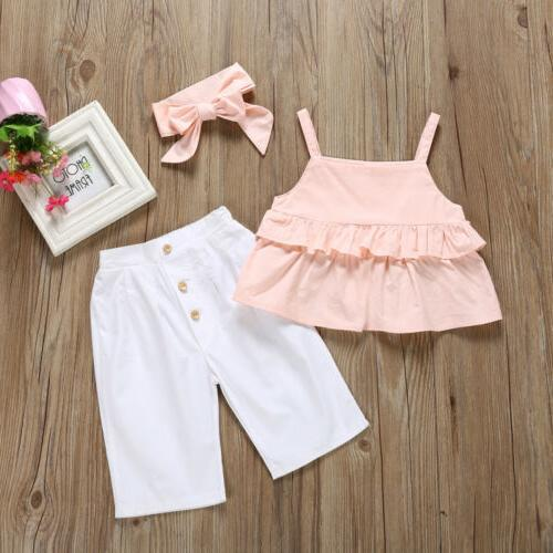 3PCS Kid Baby Girl Ruffle Crop Trousers Outfit 1-6Y US