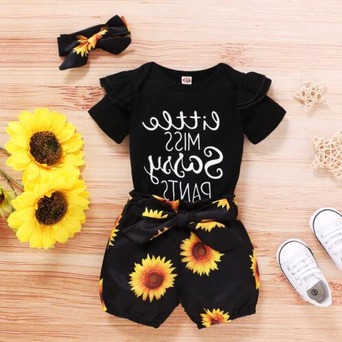 3PCS Girl Clothes Shorts Outfits