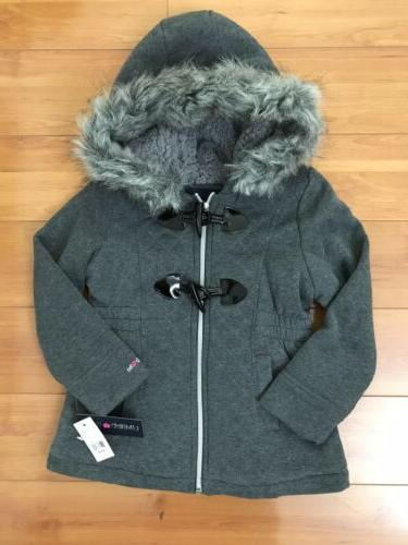 #4 NWT Girls Limited Too Fur Hooded Jacket Size Small 5/6 GR