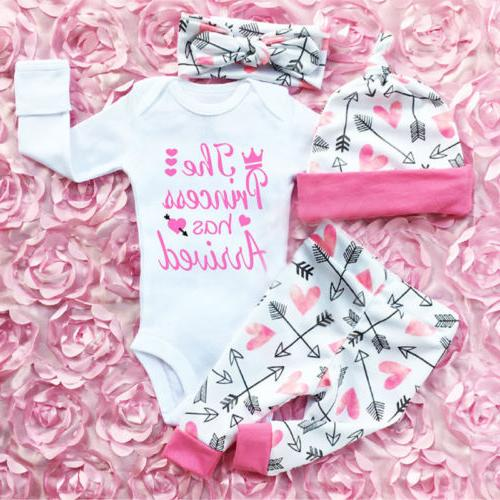 4pcs newborn infant baby girl outfits clothes