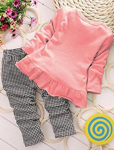 BomDeals Adorable Cute Baby Clothing Top&Pants Flower/Pink)