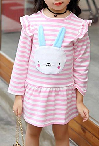 BomDeals Bunny Stripe Dress, Adorable Kids Sweet Shirt and Skirt