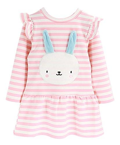 BomDeals Cute Toddler Girl Bunny Stripe Dress, Adorable Kids