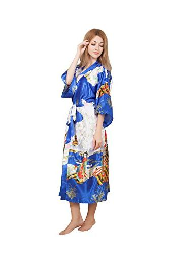 35b2953707d91 DaHeng Women Floral Long Satin Robe Bridal Dressing Gown Wed