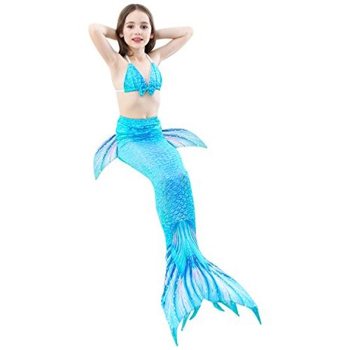 GALLDEALS 3pcs Swimmable Mermaid Tail for Kids Girls