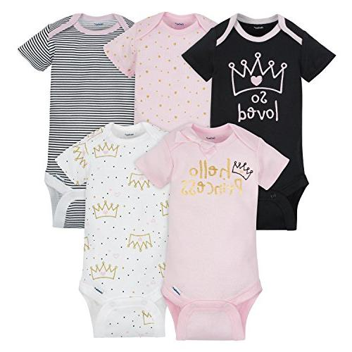 Gerber Baby Girls 5 Pack Onesies, Princess, 6-9