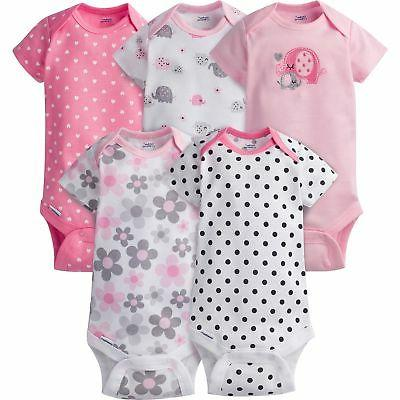 Gerber Baby Girls' 5 Pack Onesies, Elephants/Flowers, 0-3 Mo