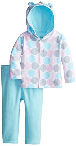 Gerber Baby Girls' Girls' Hooded Cardigan and Pant, Aqua Dot