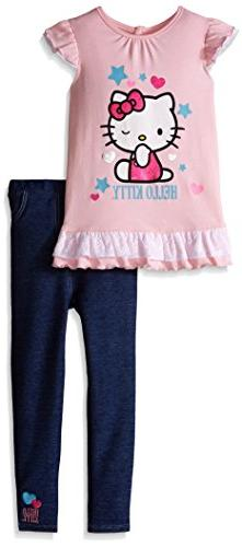 Hello Kitty Little Girls' Toddler 2 Piece Woven T-Shirt and