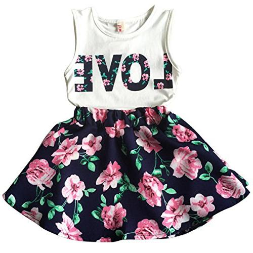 Jastore Girls Letter Love Flower Clothing Sets Top+Short Ski