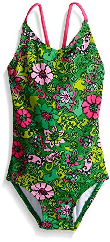 Kanu Surf Big Girls Karlie Flower One Piece Swimsuit, Green,