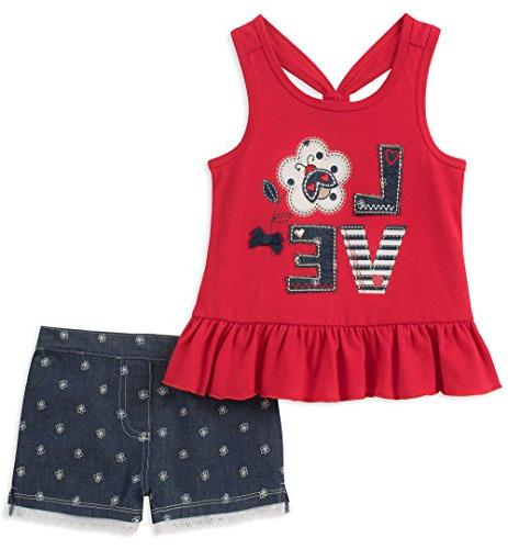 Kids Headquarters Toddler Girls' 2 Pieces Shorts Set, Red, 4