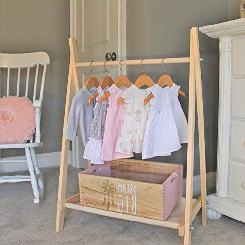 Clothes Rack With Canvas Storage Shelf