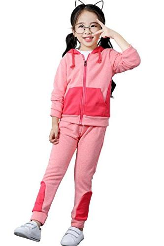 3e891470a5af Little Girls Full-Zip Hooded Sweatshirt Sweatpants Set Outfits