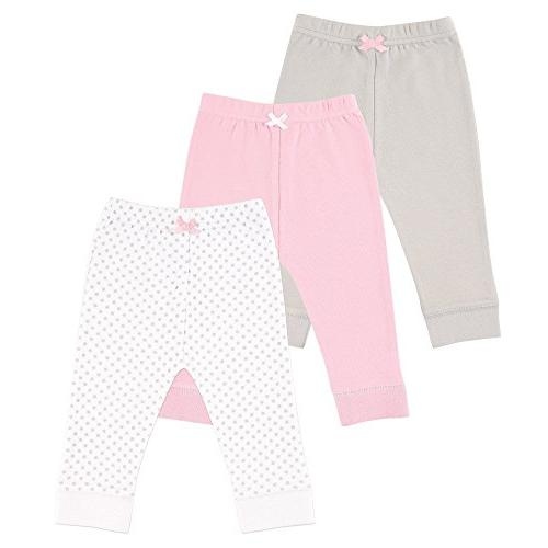 Luvable Friends Baby 3 Pack Tapered Ankle Pants, Pink/Gray,