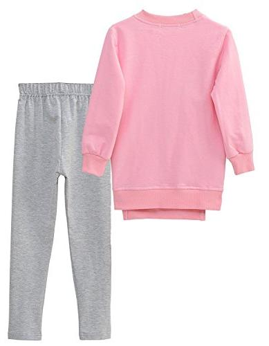 M Little Sleeve Top Pants Leggings Clothes Set Outfit , Pink Fox)
