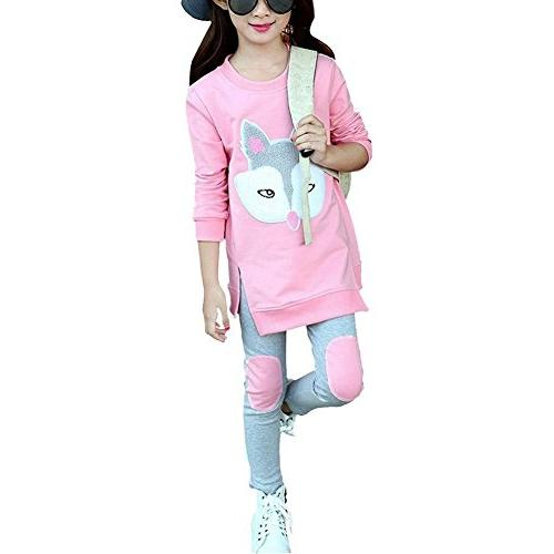 M RACLE Cute Little Girls' 2 Pieces Long Sleeve Top Pants Le