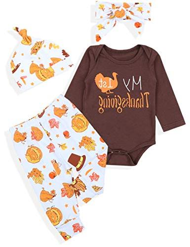 3d6720568 Newborn Baby Boy Girl Clothes My 1st Thanksgiving Letter Pri