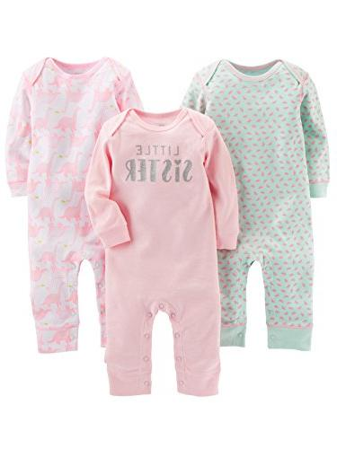 Simple Joys by Carter's Baby Girls' 3-Pack Jumpsuits, Pink,