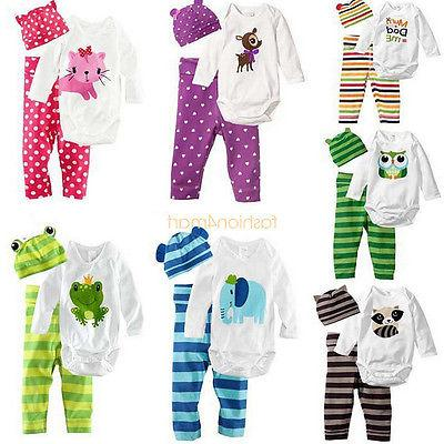 Baby Boys Girls Newborn Hat+Romper+Pants Trousers Outfit Clo