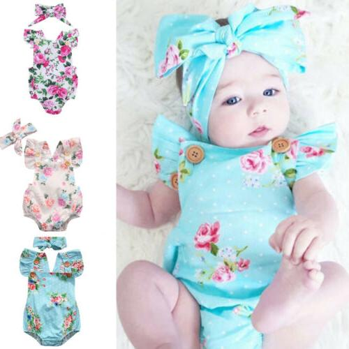 Baby Girl Floral Romper Newborn Headband Bodysuit Outfit
